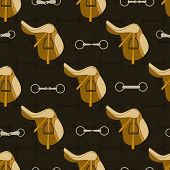 picture of saddle-horse  - Vintage equine background with saddles and bits - JPG