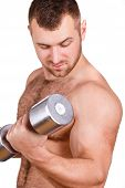 stock photo of arm muscle  - A young handsome guy - JPG