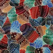 picture of mehendi  - Seamless ornamental ethnic pattern with indian eastern vivid watercolor - JPG