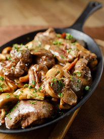 pic of liver fry  - Liver baked with mushrooms - JPG