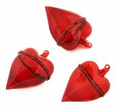 picture of glass heart  - Glass red heart decoration figure isolated over white background - JPG
