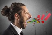 stock photo of screaming  - Businessman screaming out of the mouth graphics - JPG