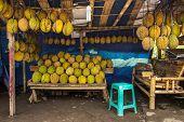 image of southeast  - Durian fruits street market stall - JPG