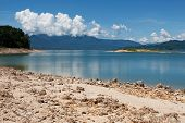image of damme  - Nam Ngum reservoir in Laos - JPG