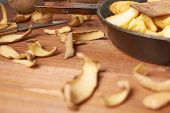 image of french fries  - Cooking fried french potatoes composition of an old iron pan - JPG