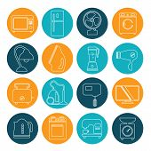 stock photo of household  - set of household appliances contour icons on colorful round web buttons with a washing machine stove fridge lamp kettle coffee machine and toaster - JPG