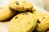image of baked raisin cookies  - Shortbread cookies with raisins a few pieces on the table - JPG