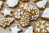 image of christmas cookie  - Christmas Gingerbread Cookies homemade on wooden table - JPG