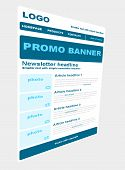 stock photo of newsletter  - Responsive newsletter blue template with business style - JPG
