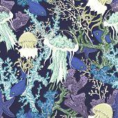 pic of jellyfish  - Vintage blue seamless sea summer background with algae - JPG