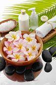 stock photo of frangipani  - set of zen stones and Frangipani in bowl and palm leaf - JPG
