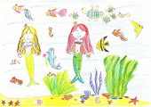 foto of mermaid  - Child drawing of a mermaid - JPG
