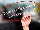 foto of kill  - Man Hand writing Doubt Kills More Dreams Than Failure Ever Will with black marker on visual screen - JPG