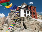 stock photo of jammu kashmir  - Namgyal Tsemo Gompa with prayer flags  - JPG