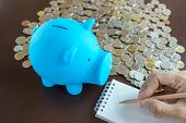 picture of piggy  - blue piggy bank and hand writing on notepad writing income and expense and saving money into piggy bank to get rich - JPG