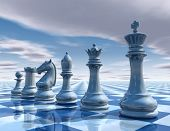 picture of surreal  - chess surreal background with sky and chessboard illustration - JPG