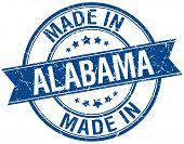 picture of alabama  - made in Alabama blue round vintage stamp - JPG