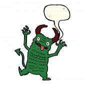 pic of demons  - cartoon demon with speech bubble - JPG