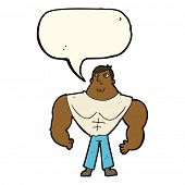 stock photo of muscle builder  - cartoon body builder with speech bubble - JPG