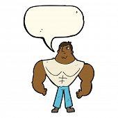 image of body builder  - cartoon body builder with speech bubble - JPG