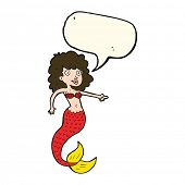 foto of mermaid  - cartoon mermaid with speech bubble - JPG