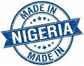 picture of nigeria  - made in Nigeria blue round vintage stamp - JPG