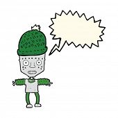 pic of crazy hat  - cartoon robot wearing hat with speech bubble - JPG