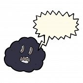 picture of spooky  - cartoon spooky cloud with speech bubble - JPG