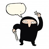 picture of ninja  - cartoon ninja with speech bubble - JPG
