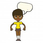 picture of annoyance  - cartoon woman looking annoyed with speech bubble - JPG