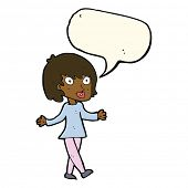 image of open arms  - cartoon woman with open arms with speech bubble - JPG