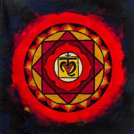 image of ohm  - Bright red and black indian ohm image on material - JPG
