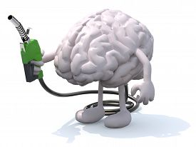 image of fuel economy  - human brain with arms legs and fuel pump in hand 3d illustration - JPG