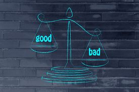 image of pro-life  - the cons win over the pros metaphor of balance measuring the good and the bad - JPG