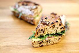 image of deli  - A delicious rustic deli sandwich on a wooden table  - JPG