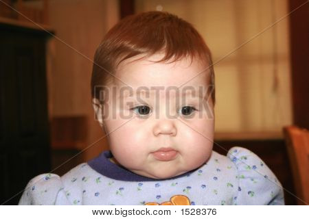 Picture or Photo of Chubby cheeked cute 7 month old baby girl with dark hair.