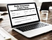 Auto Insurance Claim Form Document Indemnity Concept poster