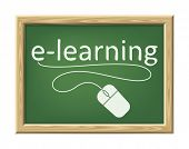 An image of a chalk board with the word e-learning and a mouse