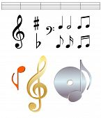 stock photo of musical note  - vector music notes set - JPG