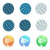vector globe symbols set