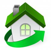 house icon with green arrow - concept