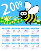 2009 bee and flowers vector calendar.