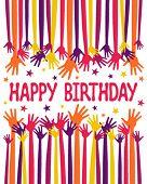 Happy birthday hands vector.
