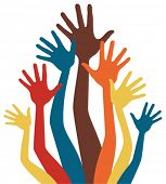 Happy colorful hands vector.