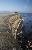 The Cobb harbor wall Lyme Regis Dorset.
