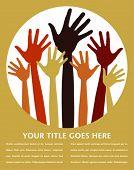 Постер, плакат: Счастливые руки дизайн с копией пространства