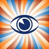 Vector de sunburst colorido del ojo.