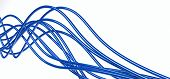 bright metallic fibre-optical blue cables on a white background