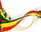 stock photo of rasta  - Abstract rasta flow with copy space and ink splats in red yellow and green - JPG