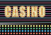 Entrance to a casino with bright neon light illustration